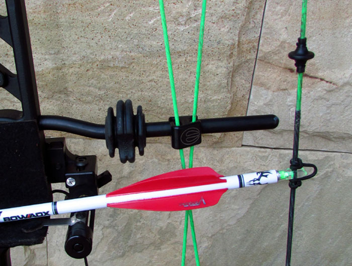 A kisser button on your string together with a lighted nock on your arrow (not clearly visible in this day time photo) goes a long way in ensuring you make a pin point accurate shot for peace of mind.
