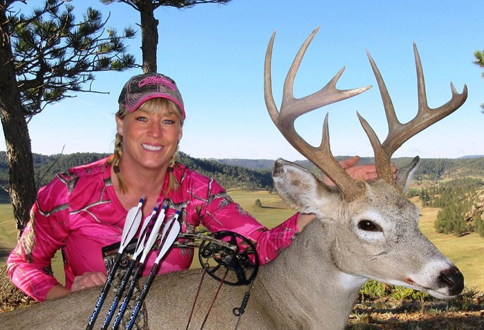 Good friend and fellow Pope and Young Club member Michele Leqve cleaned up her Wyoming buck -- and slipped out of her camo hunting clothes -- to set up this scrapbook photo of a successful 2016 whitetail hunt.