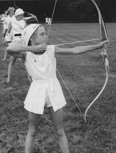 A young Debbie Clark at a tournament.