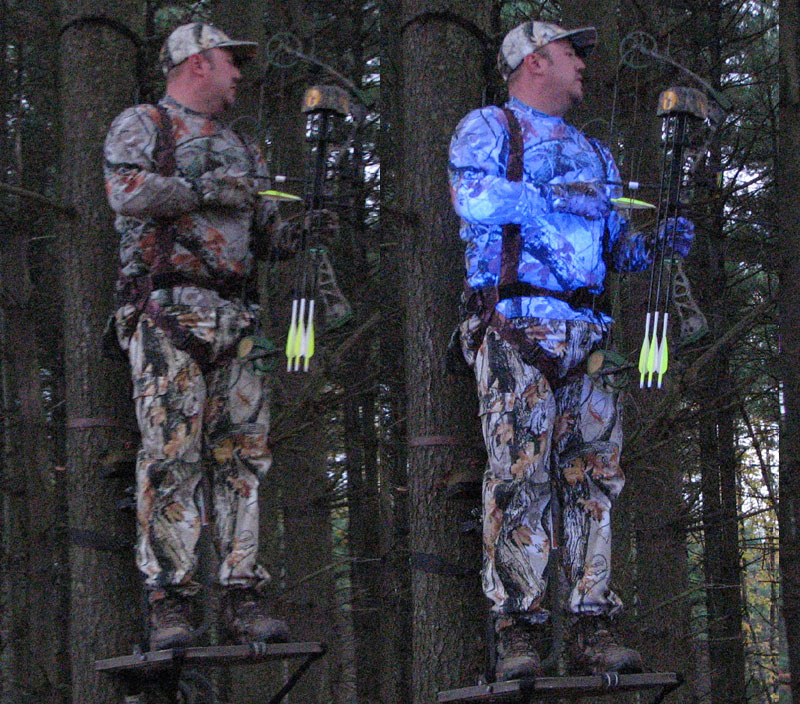 What do deer see? The Atsko treated clothing is on the left. Untreated on the right.