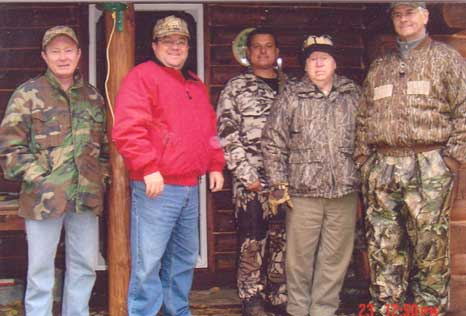 Norb on a family hunting at Bob Link's cabin in Northern Wisconsin from the left: son Terry, son Mike, nephew Greg Bock, Norb and friend John Nowak – Bob Link took the photo