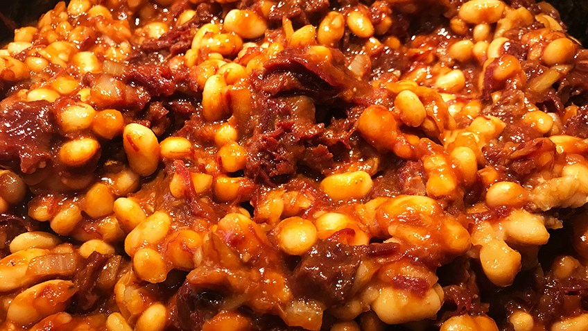Elk Shank And Baked Beans